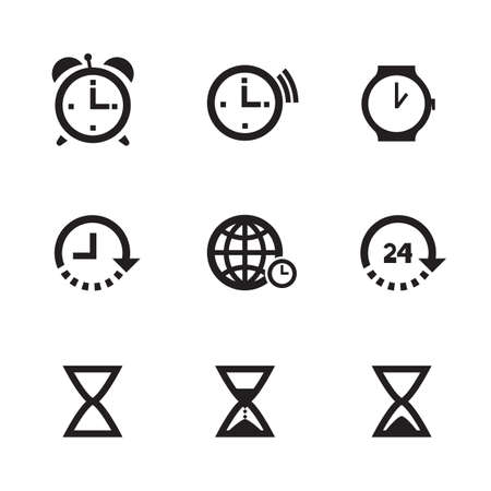 Set of nine time and clock icons, isolated on white background. Vector