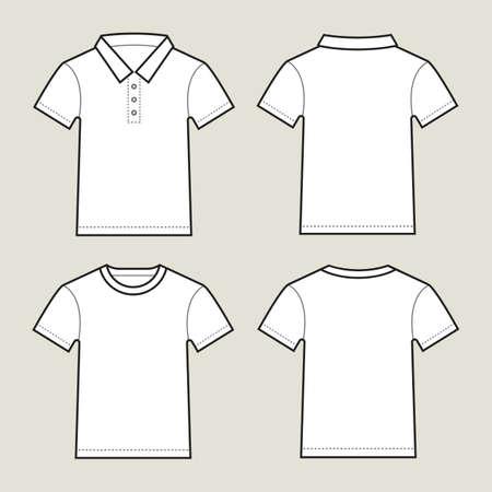 空白の白い t シャツ前面と背面、ライトグレーの背景に分離。