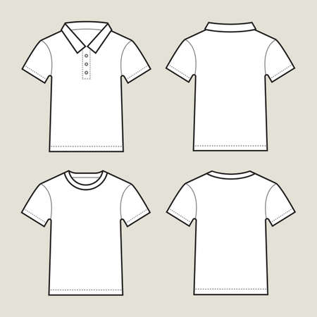 Blank white t-shirts- front and back, isolated on light grey background.