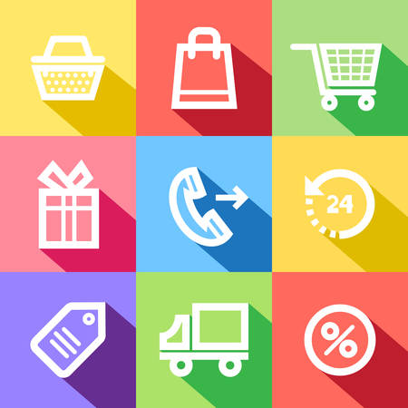 Set of flat shopping vector icons, with shadows, isolated on color backgrounds.