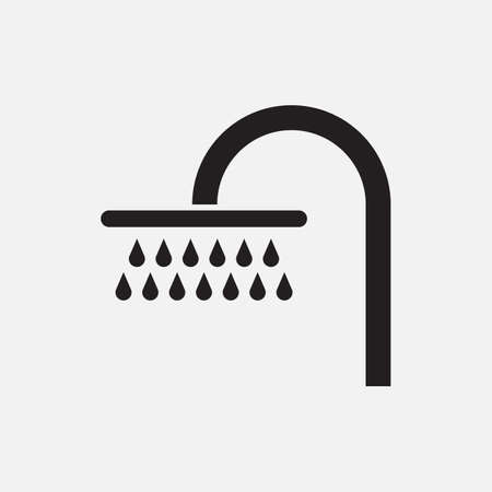 shower room: Black silhouette of a shower with water drops, isolated on white background. Illustration