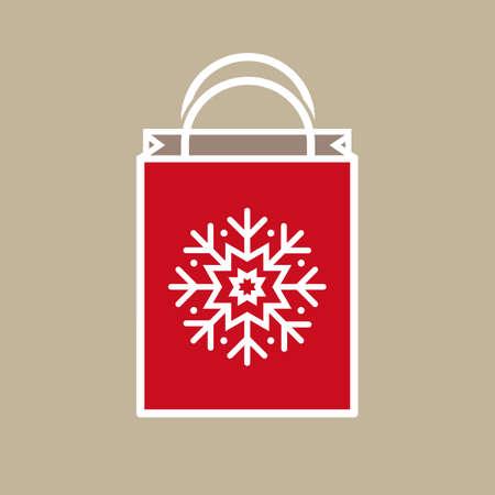 bolsa de regalo: Silueta de una bolsa de regalo para las fiestas de Navidad con el copo de nieve adorno de la decoraci�n en el fondo beige claro.