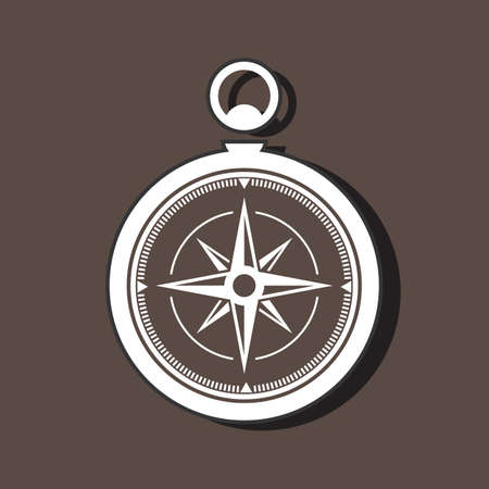 Silhouette of a compass on dark background with shadows.