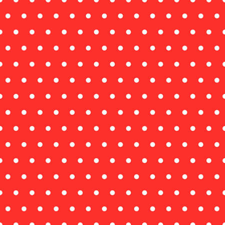 Classical polka dots seamless pattern in red and white. Illustration