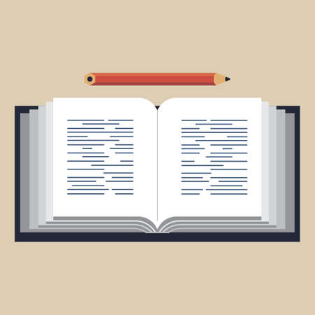 unfold: Illustration of an opened book with a pencil on light beige background, in retro-vintage stile.