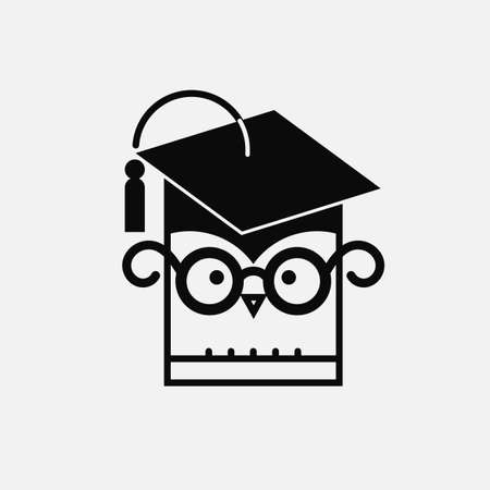 Silhouette of a stylized owl character with a graduating hat, isolated on light grey background. Illustration