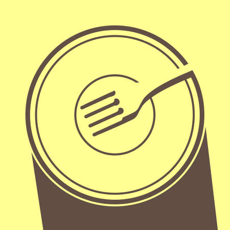 dense: Simple silhouette of a plate with a fork on it, outlined by a dense shade. Illustration