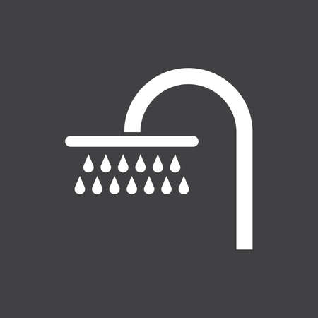 White silhouette of a shower, isolated on dark grey background.