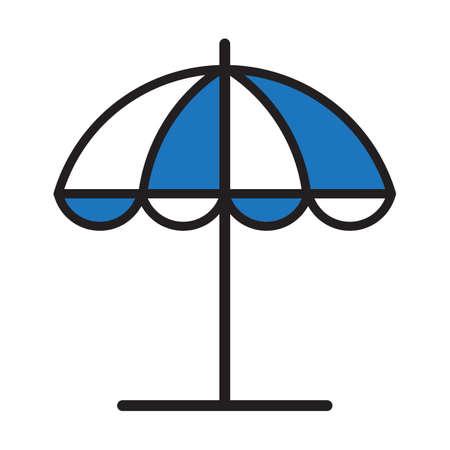 Sunshade symbol, isolated on white background. Illustration