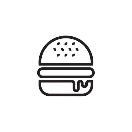 lunchroom: Black outlined symbol of a hamburger, isolated on white background.
