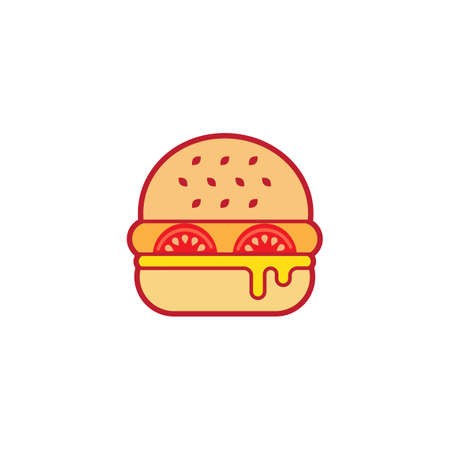 lunchroom: Colorful icon of a hamburger, isolated on white background.