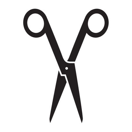 Black silhouette of a scissors, isolated on white background.