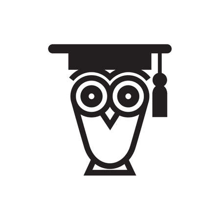 Stylized silhouette of an owl with a graduation hat, isolated on white background. Illustration