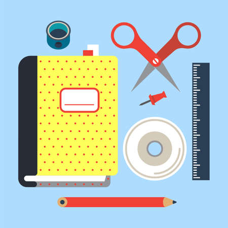 Set with office stationery flat elements on color background.