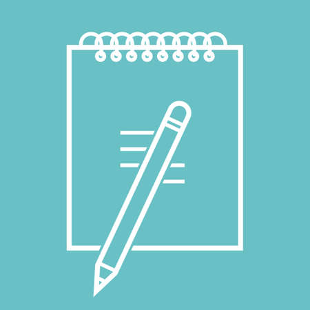 Notebook with a pencil icon, isolated on bright blue background.