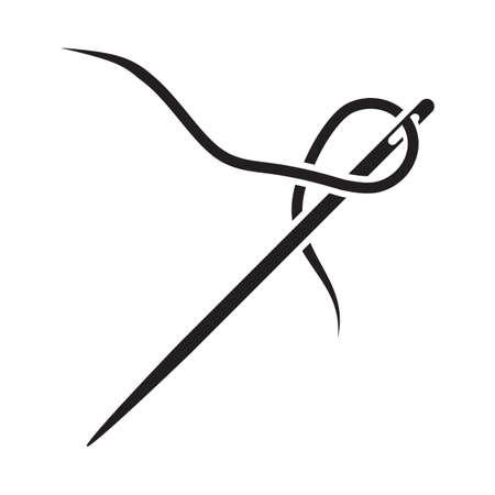 Silhouette einer Nadel mit einem Stück Faden, isoliert auf weißem Hintergrund.