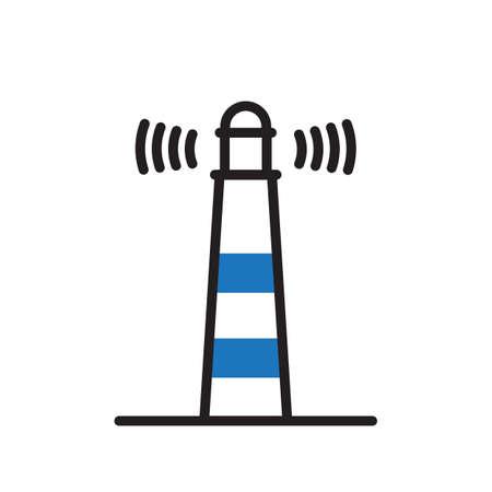 Lighthouse symbol, isolated on white background.