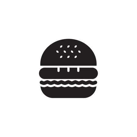 lunchroom: Black silhouette of a hamburger, isolated on white background. Illustration