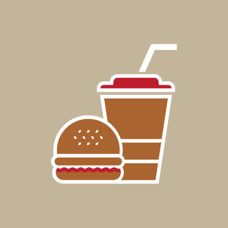 Hamburger and paper cup with a straw on light grey background. Fast food Icon.