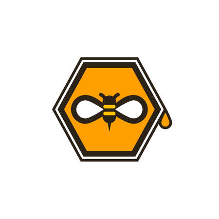 Honeybee symbol on octagon shape with honey drop on the right side, isolated on white background.