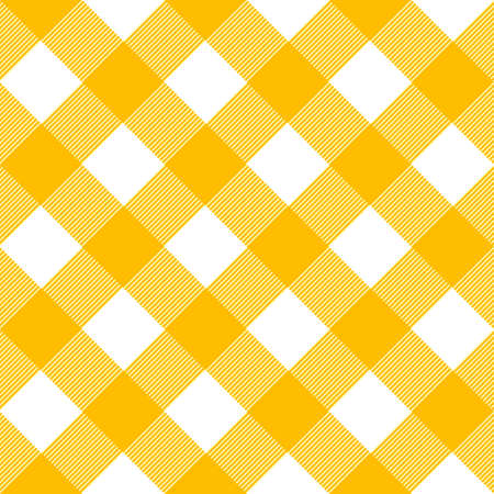Vintage tablecloth pattern with squares in yellow and white.