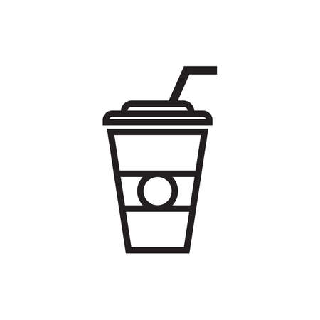 Paper coffee cup with a piece of straw, isolated on white background. Illustration