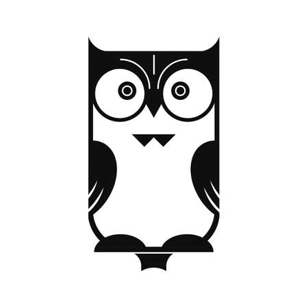 Black silhouette of an owl, isolated on white background. Illustration