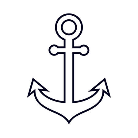 Outlined anchor silhouette, isolated on white background. Illustration