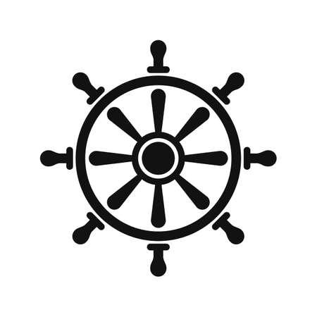 Black rudder symbol, isoalted on white background.