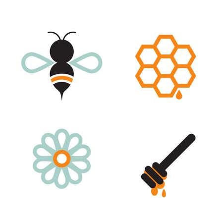 Honeybee and honey supply elements, isolated on white background. Illustration