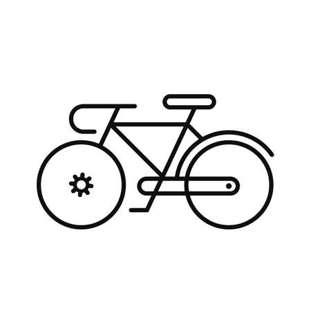Black silhouette of a bicycle, isolated on white background.