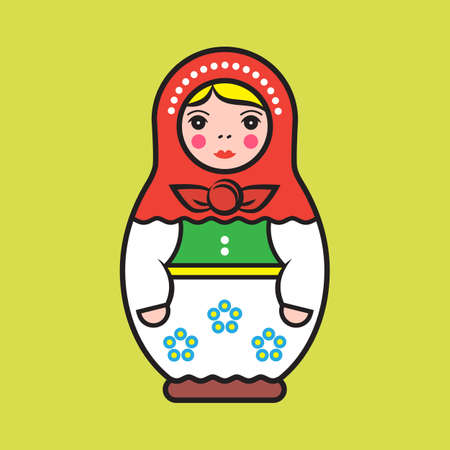 Simple illustration of a traditional russian wooden doll, on color background.