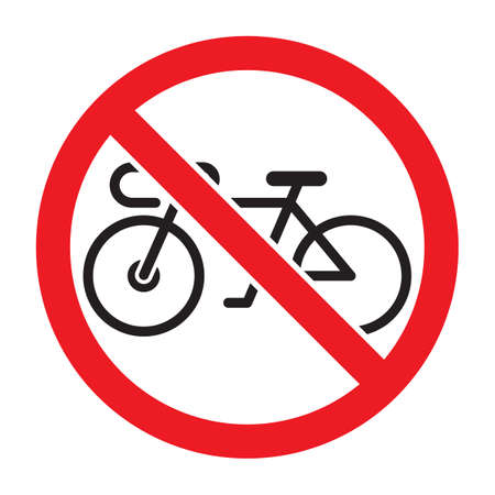 Bicycles not allowed symbol, isolated on white background.