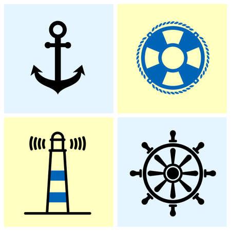 Set van vier nautische symbolen, geïsoleerd op lichte kleur achtergrond.