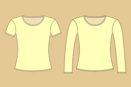 Two T-shirts with long and short sleeves vector illustration Illustration