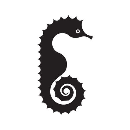 Black silhouette of a seahorse, isolated on white background.