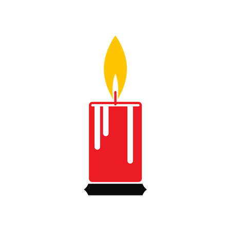 Illustration of a single candle with a flame vector illustration Vettoriali