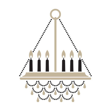 Silhouette of a crystal chandelier with candles vector illustration