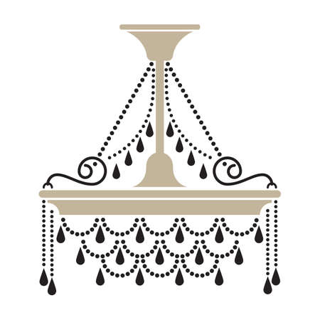 Crystal chandelier silhouette vector illustration