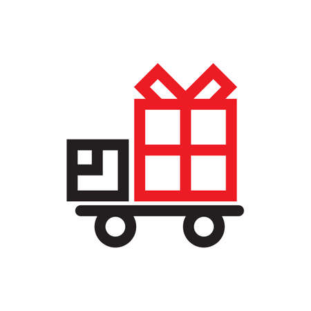 Silhouette of a delivery truck with a gift box on top vector illustration
