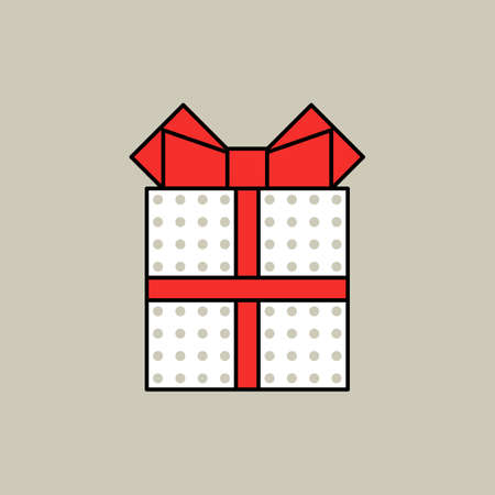 Color gift box icon on grey background, isolated.