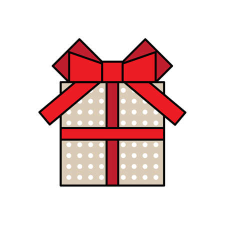 Gift box icon with a bow vector illustration Illustration