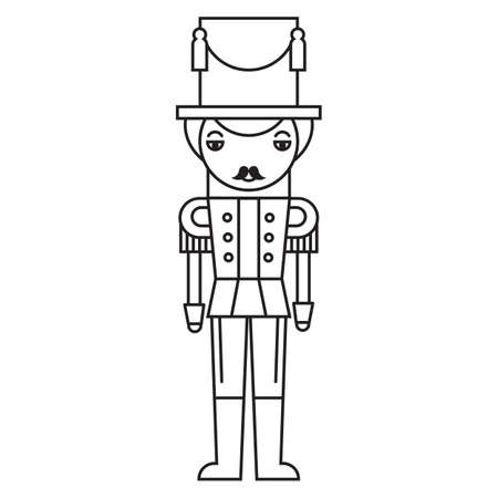 Outlined silhouette of a Christmas nutcracker soldier, isolated on white background.