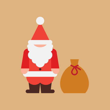 Santa Claus figure with a gift bag vector illustration