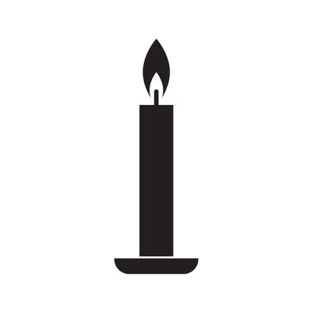 Single candle silhouette with a flame vector illustration