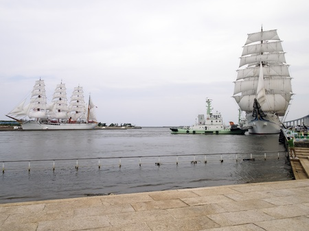 New and old Kaiou-Maru in full sail