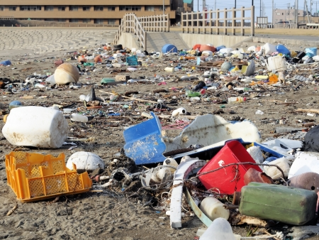 pollution on the beach photo