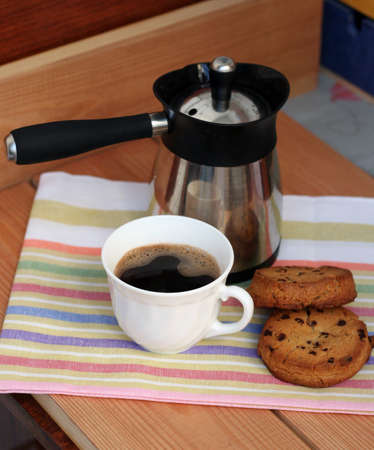 coffeemaker: morning coffee with homemade cookies and coffeemaker