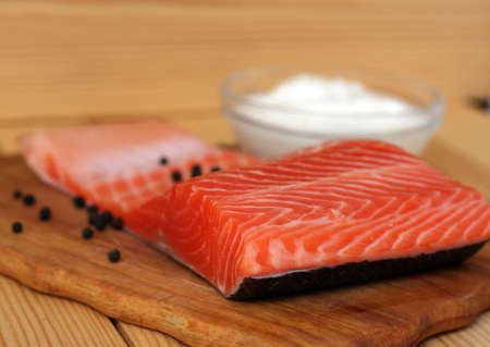 raw salmon fillet ready to cook photo