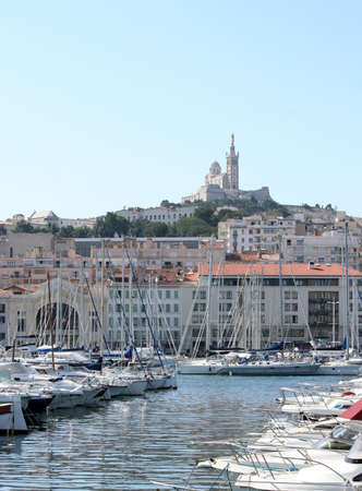 garde: notre dame de la garde in marseille, france, old harbor